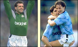 Goalkeeper Paul Cooper and fellow team-mates Paul Lake and Ian Bishop celebrate during City's 5-1 win