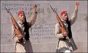 Greece's ceremonial military guards outside parliament in Athens