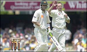 Craig White claims his first Ashes wicket after Damien Martyn is caught by Trescothick off his delivery