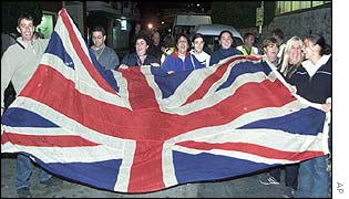 Gibraltarians carry British flag