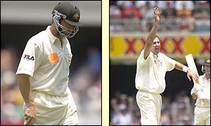 Australia captain Steve Waugh trudges off while Andy Caddick celebrates