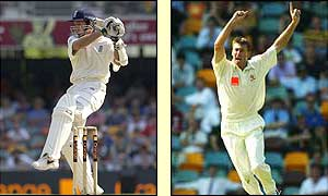Michael Vaughan (left) is going well before being caught off the bowling of Glenn McGrath