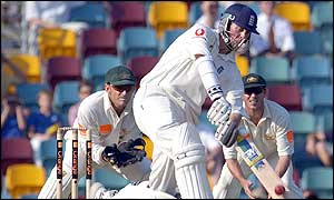 Marcus Trescothick hits a six against Australia