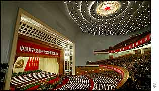 Delegates attend the opening session of the 16th Chinese Communist Party Congress 8 Nov 2002 at the Great Hall of the People in Beijing