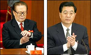 Chinese President Jiang Zemin (left) and his expected successor Hu Jintao