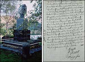 Memorial cairn and judge's sentence (Images by RM Gibson and the National Archives of Scotland)