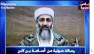 Al-Jazeera plays in October an audio tape purported to be of Osama Bin Laden