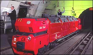 Undated picture of a Mail Rail delivery train