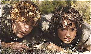 Sean Astin (Sam) and Elijah Wood (Frodo)
