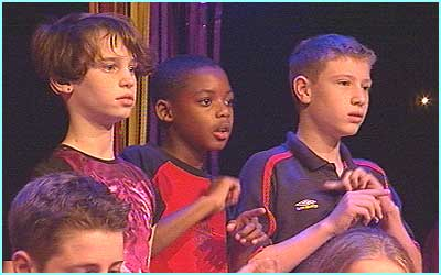 Children from the The National Deaf Children's Society sang with Will - using sign language