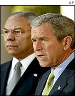 President George W Bush with Colin Powell