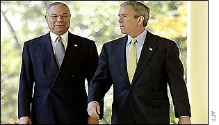 US Secretary of State Colin Powell and US President George Bush
