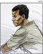 A court sketch of sniper suspect John Lee Malvo