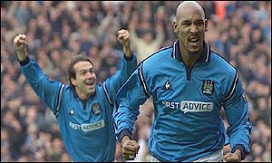 Eyal Berkovic (left) and Niclas Anelka celebrate the Frenchman's opening goal