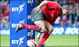 Wales captain Colin Charvis touches down to score against Fiji