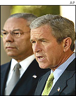 US Secretary of State Colin Powell and President Bush