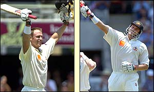 Matthew Hayden celebrates his second-innnings century