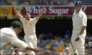 Australian paceman Jason Gillespie celebrates taking Marcus Trescothick's wicket