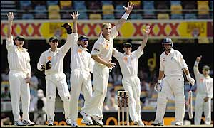 Shane Warne makes a confident lbw appeal