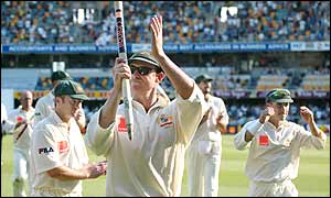 Australia's star batsman Matthew Hayden receives praise from his home crowd at The Gabba