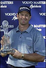 Retief Goosen poses with the Order of Merit trophy