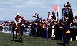 Red Rum wins the Grand National for a record-breaking third time in 1977
