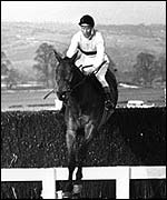 Arkle jumps the last fence in the 1965 Cheltenham Gold Cup