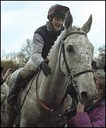 Desert Orchid and Richard Dunwoody after winning the Cheltenham Gold Cup