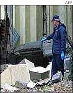Policeman outside bombed mosque