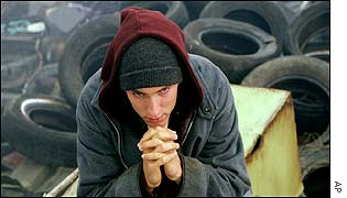 Eminem in a scene from 8 Mile