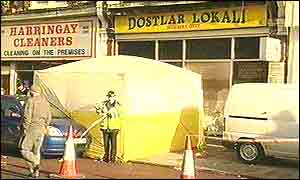 The scene outside the Dosthar Lokali in Haringey