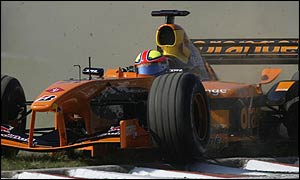 Enrique Bernoldi runs off the road in his Arrows last season