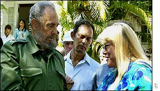 Fidel Castro with Ernest Hemingway's niece, Hillary