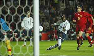 Darius Vassell in action for England against Macedonia at St Mary's Stadium