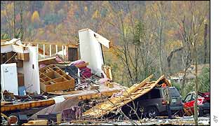 A house destroyed in Mossy Grove, Tennessee