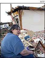 Tennessee resident Cynthia Stowe outside her storm-hit home