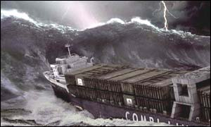 Freak wave engulfs ship, BBC