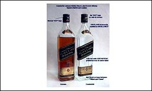Fake whisky (right)