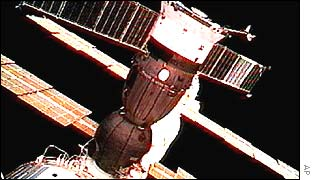 The Russian Soyuz attached to the ISS