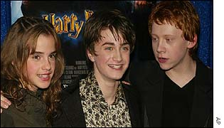 The stars of the new Harry Potter film: Emma Watson, Daniel Radcliffe and Rupert Grint