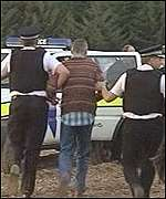 Munlochy anti-GM protester and police