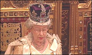 The Queen giving her speech from the throne in the House of Lords