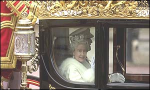 Queen arriving by carriage at House of Lords