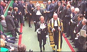 Black Rod, General Sir Michael Willcocks (left) and the Speaker of the House of Commons Michael Martin, lead MPs to the House of Lords