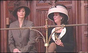 Prime minister's wife, Cherie Blair (left) and the Deputy Prime Ministers wife, Pauline Prescott