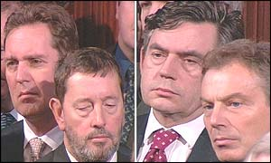 Health Secretary Alan Milburn (left) and Home Secretary David Blunkett Chancellor and Gordon Brown (left) and Prime Minister Tony Blair