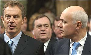 Prime Minister Tony Blair and Tory leader Iain Duncan Smith attending the state opening of parliament
