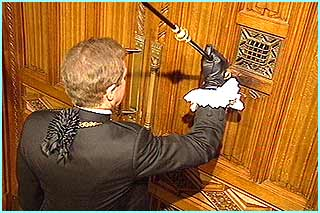 The MPs in the Commons slam their door in Black Rod's face to show their independence - so he knocks on the door