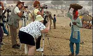 Foreign tourists at the Pushkar fair