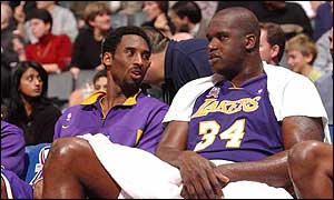Kobe Bryant (left) and Shaquille O'Neal (right)